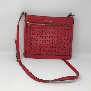 Kate Spade Red Crossbody With Gold Accents